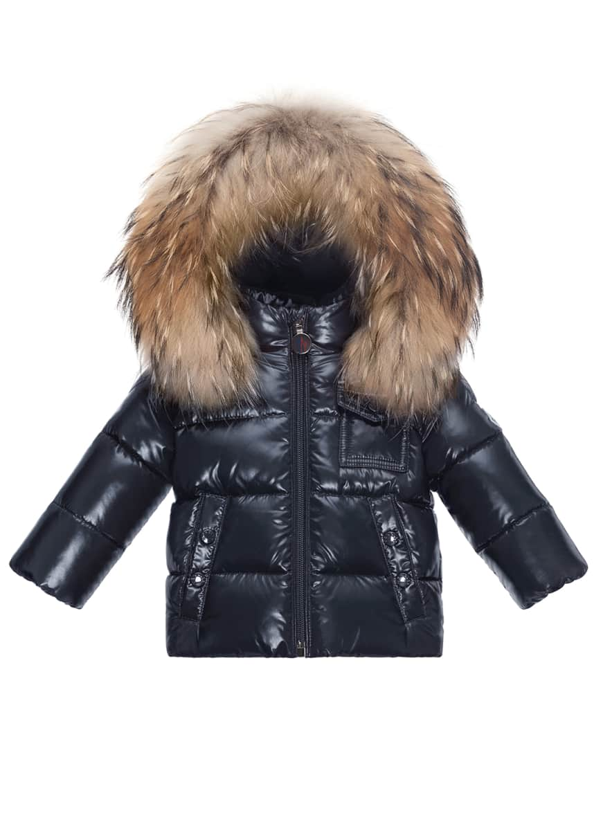 Moncler K2 Fur-Trim Hooded Jacket, Size 12M-3