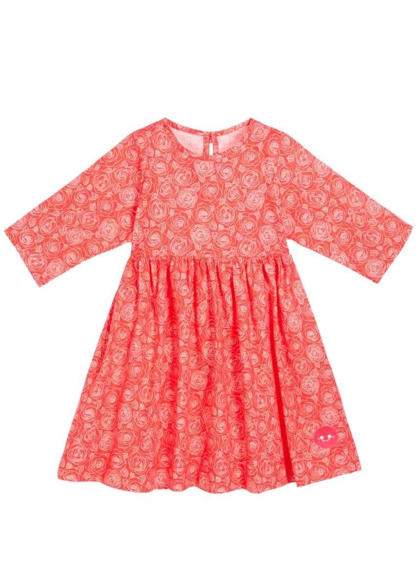 Smiling Button Roses Are Red Print 3/4-Sleeve Dress, Size 18m-10