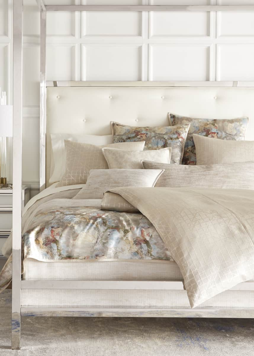 Fino Lino Linen & Lace Chevrille Queen Duvet Chevrille King Duvet Inessa Queen Coverlet