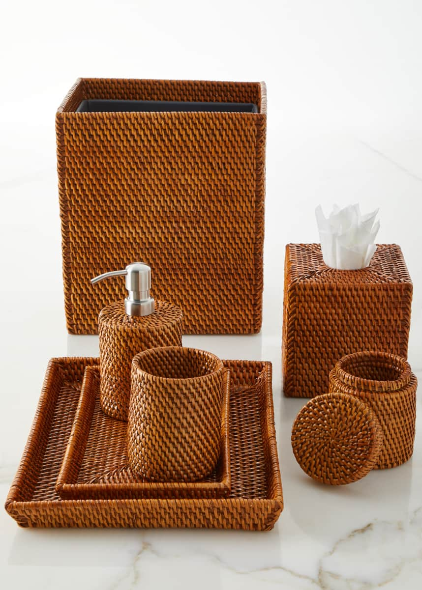 Pigeon and Poodle Dalton Rattan Tissue Box Cover Dalton Rattan Wastebasket Dalton Rattan Nested Trays