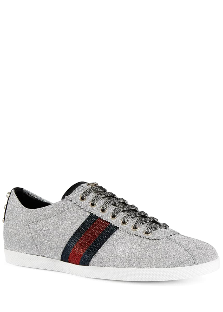 Gucci Men's Bambi Web Low-Top Sneakers with Stud Detail, Silver