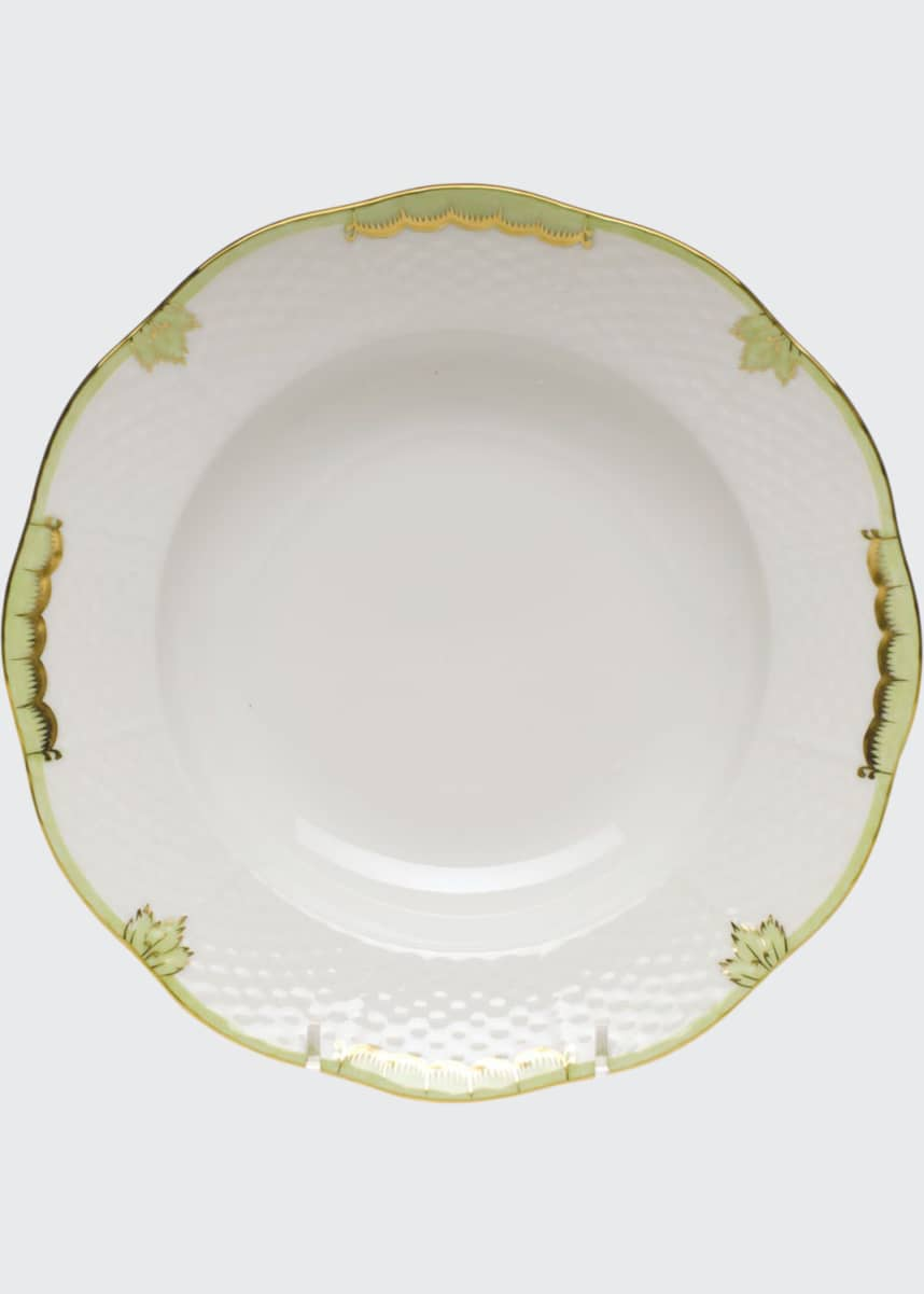 Herend Princess Victoria Green Rim Soup Bowl