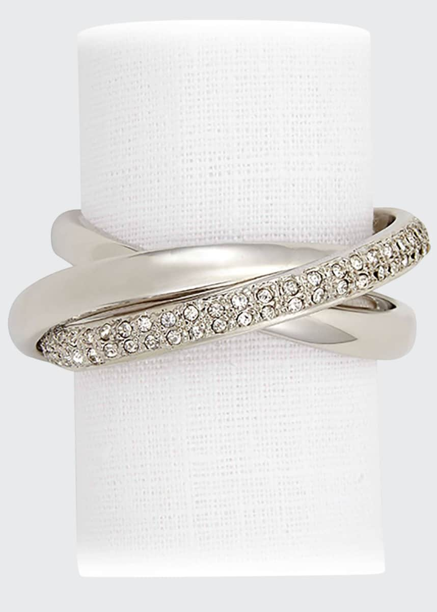 L'Objet Platinum Plate & Crystal Napkin Ring, Set of 4