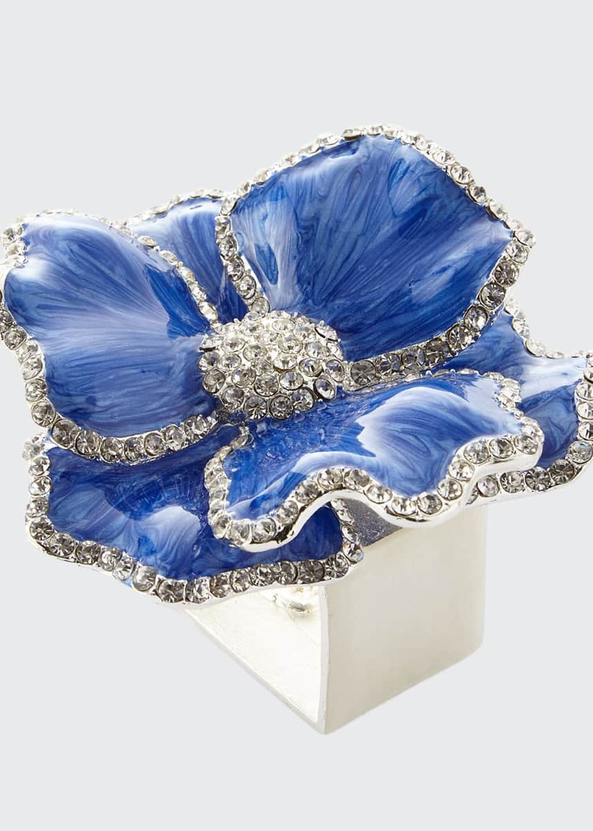 Nomi K Floral Crystal Napkin Rings, Set of Four, Blue