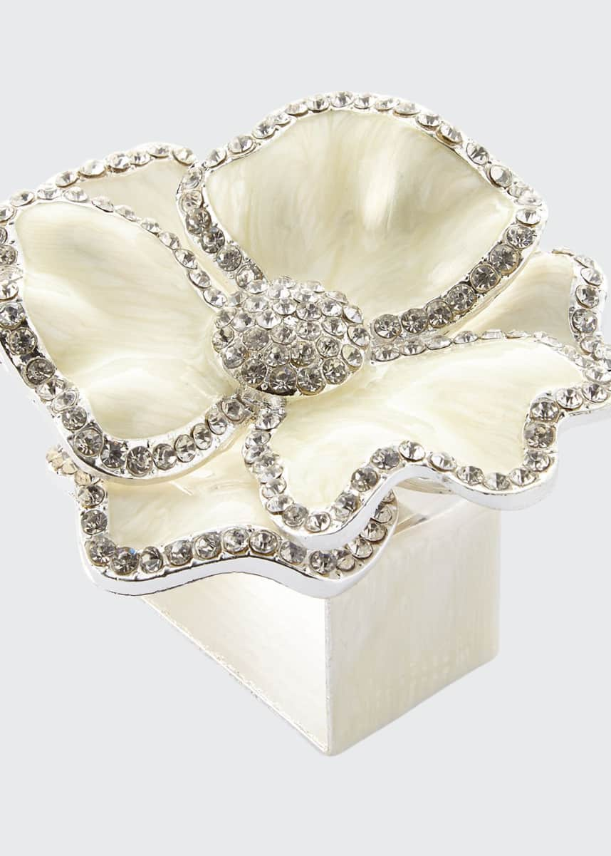 Nomi K Floral Crystal Napkin Rings, Set of Four, White