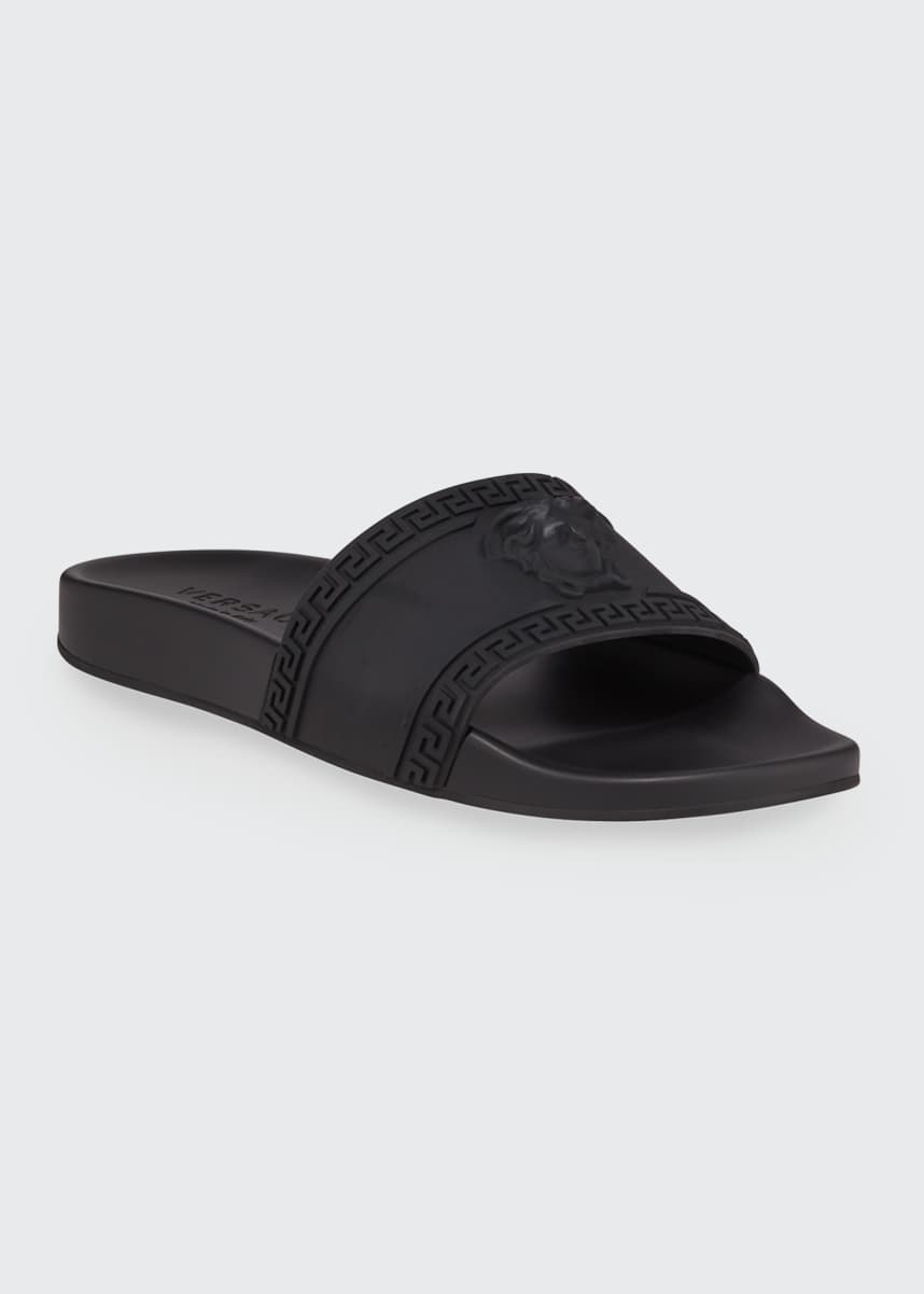 Versace Men's Medusa & Greek Key Shower Slide Sandals