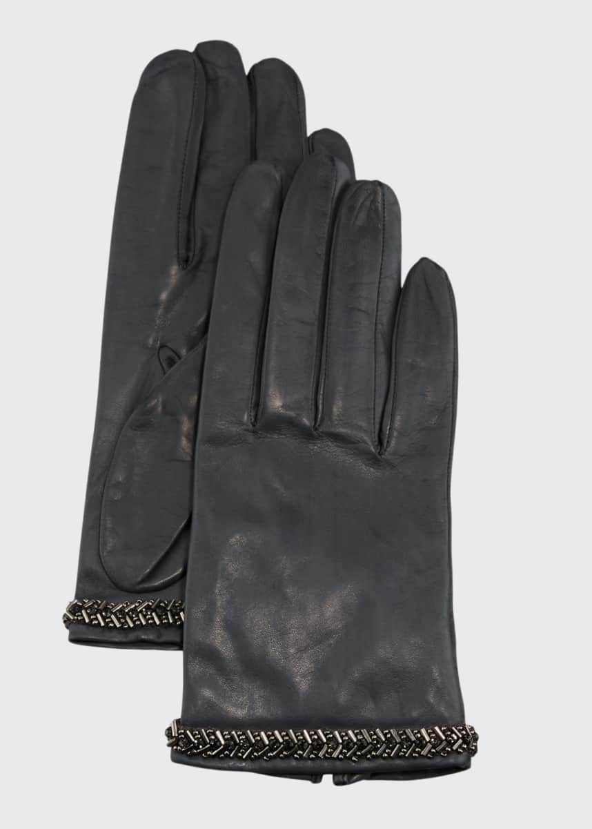 Portolano Napa Leather Silk-Lined Gloves w/ Beaded Cuffs