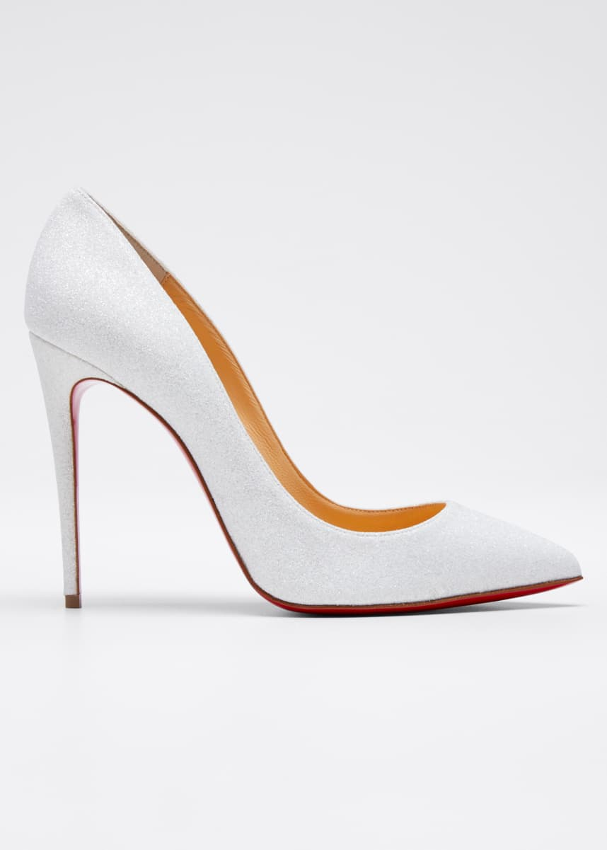 Christian Louboutin Pigalle Follies Glittered Red Sole Pumps, White