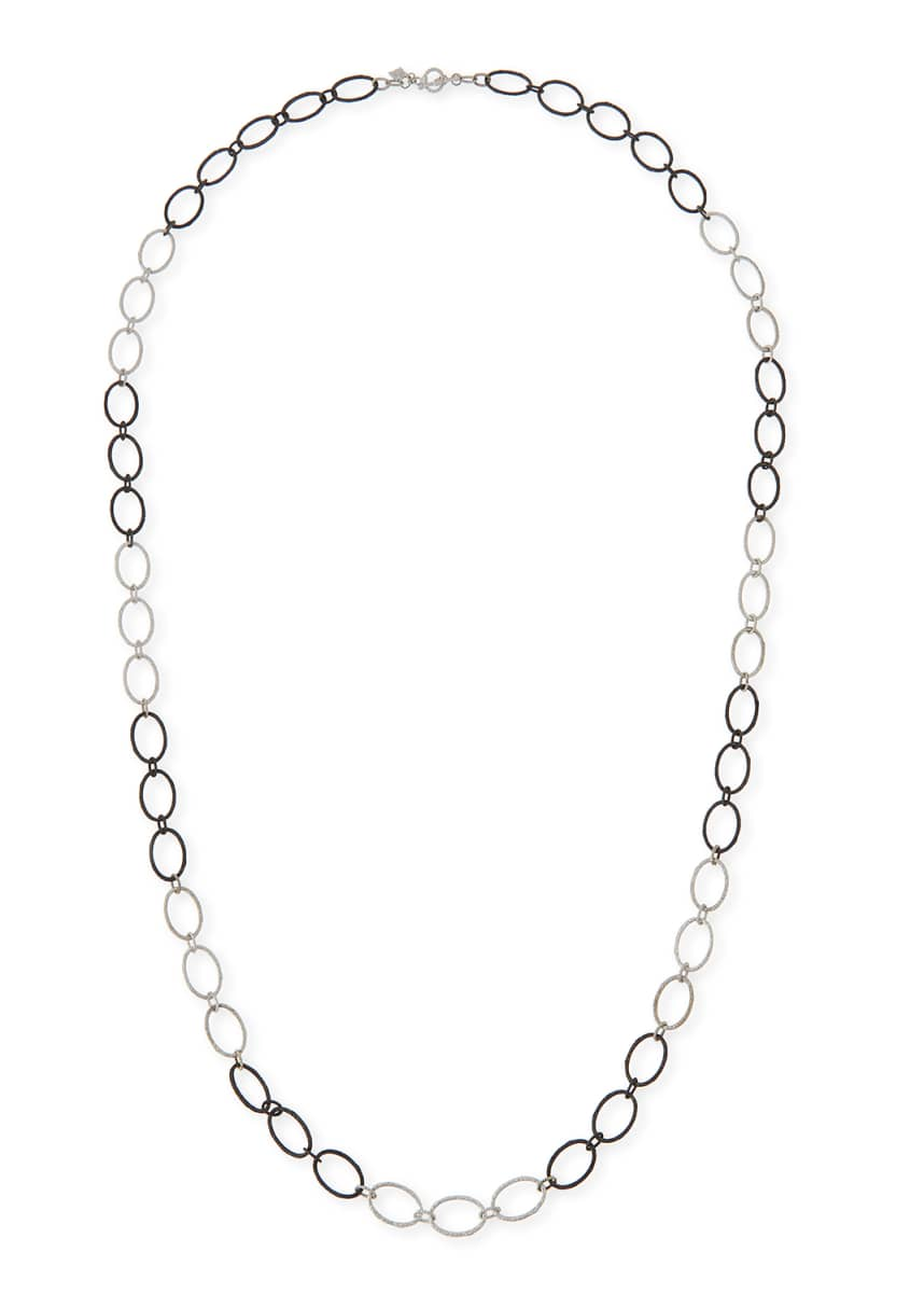 "Armenta New World Large Silver Oval Link Necklace, 38""L"