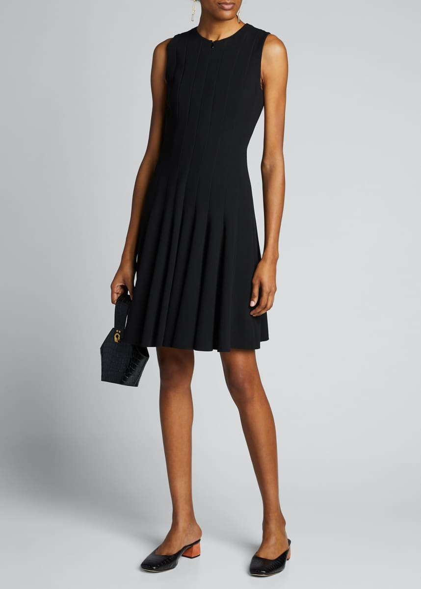 Akris Sleeveless Zip-Front Seamed A-Line Dress