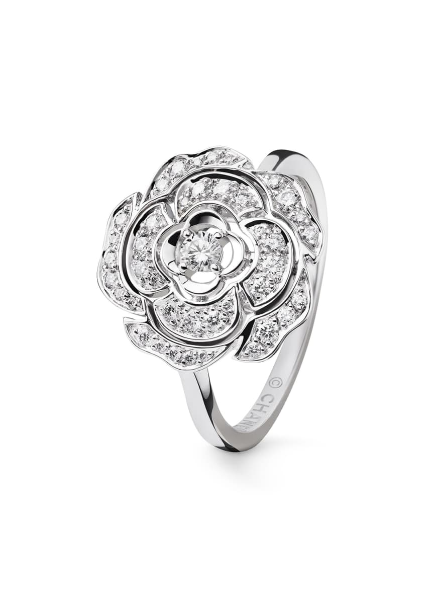 CHANEL BOUTON DE CAMELIA Ring in 18K White Gold and Diamonds
