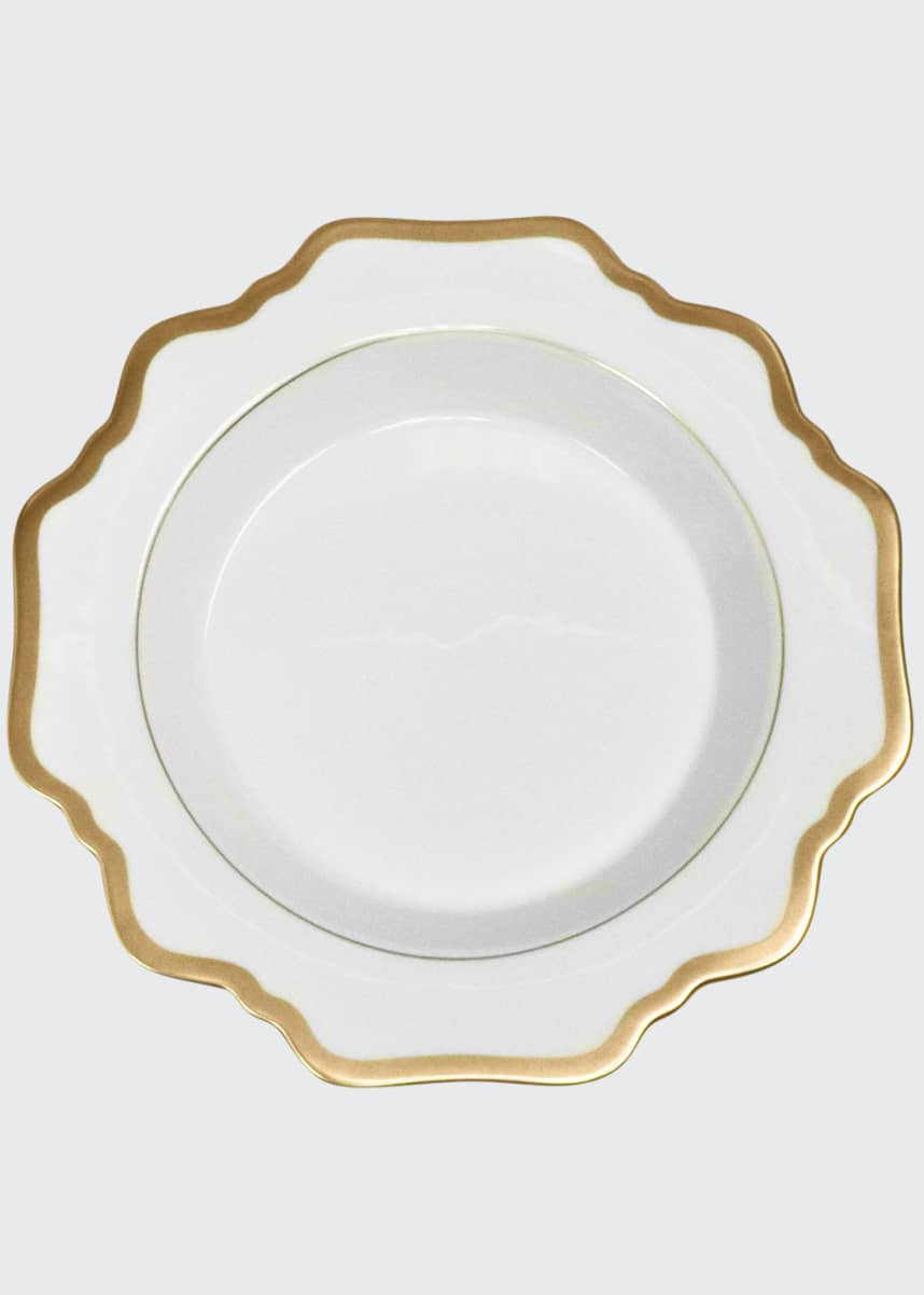 Anna Weatherly Antiqued White Soup Plate