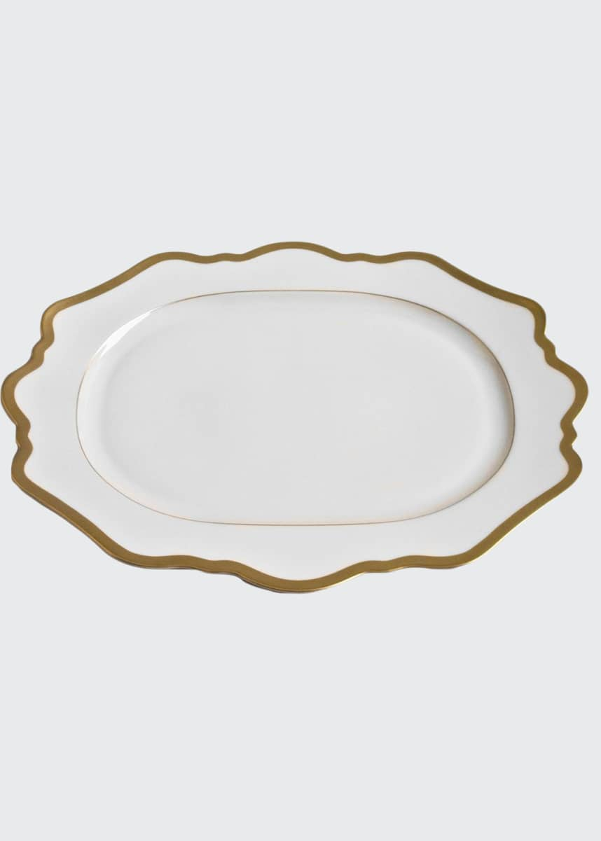 Anna Weatherly Antiqued White Oval Platter