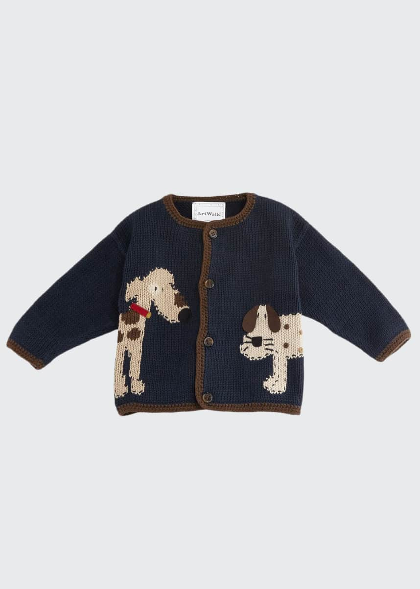 Art Walk Woof Woof Cotton Button-Front Sweater, Blue, Size 12-24 Months