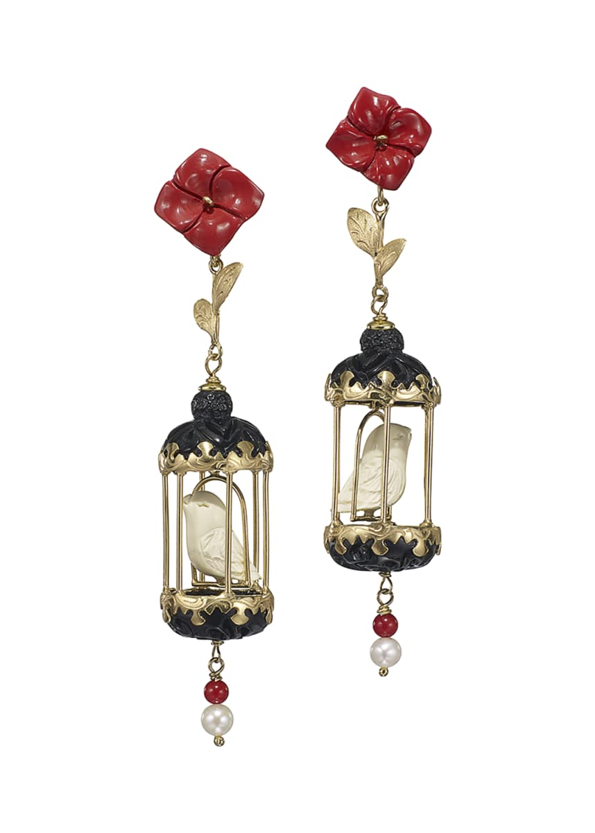 Of Rare Origin Aviary Classic Coral & Onyx Drop Earrings