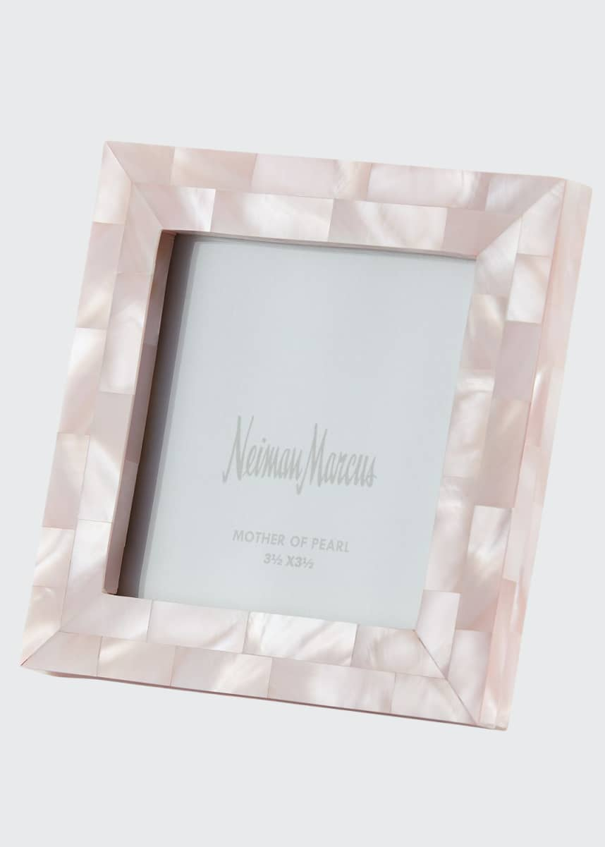 "The Jws Collections Mother-of-Pearl Picture Frame, Pink, 3.5"" x 3.5"""