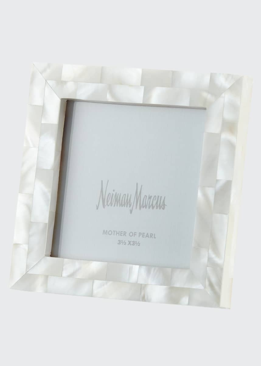 "The Jws Collections Mother-of-Pearl Picture Frame, White, 3.5"" x 3.5"""