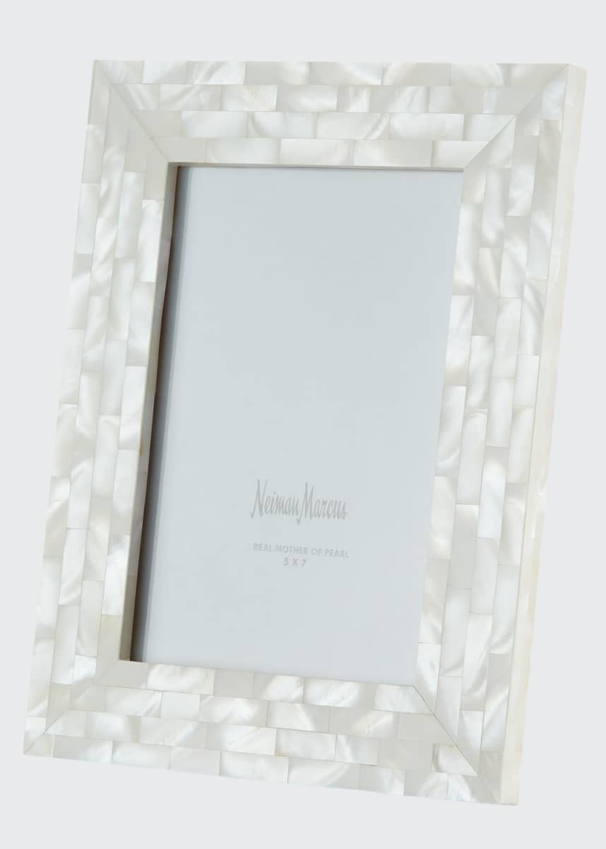 "The Jws Collections Mother-of-Pearl Picture Frame, White, 5"" x 7"""
