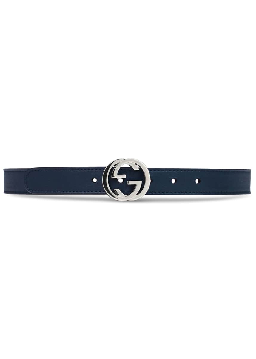 Gucci Kids' Leather Belt w/ Interlocking G Buckle