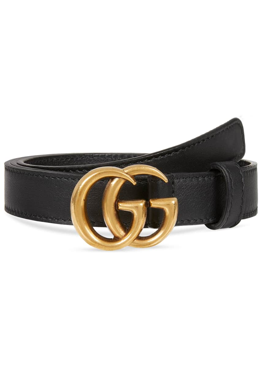 Gucci Thin Leather GG-Buckle Belt