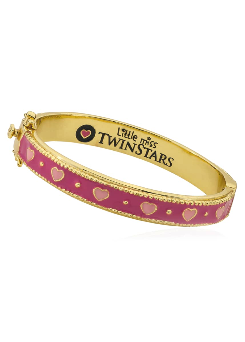 LMTS Girls' Tonal Heart Hinge Flat Bangle, Multi