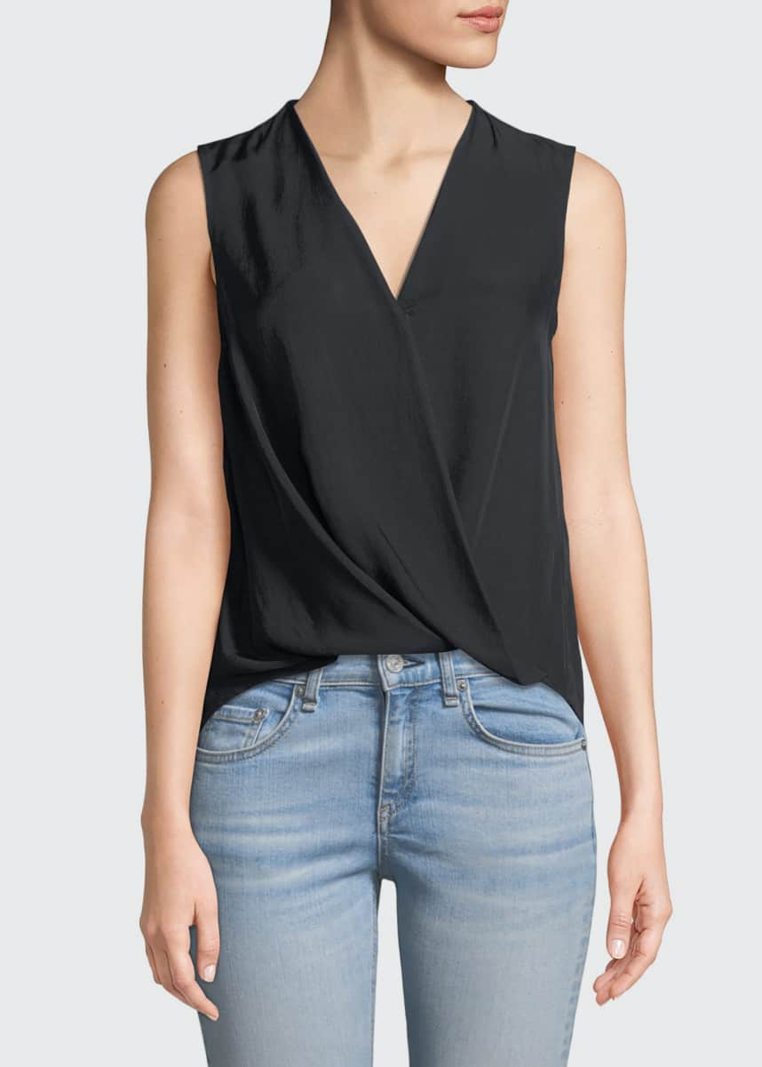 Rag & Bone Victor Sleeveless Wrap-Front Blouse