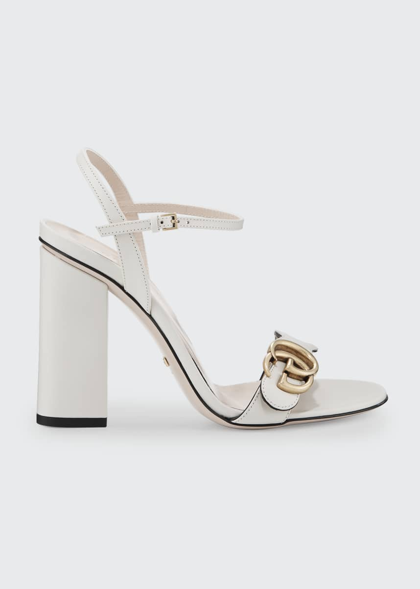 Gucci Marmont Leather Block-Heel Sandals