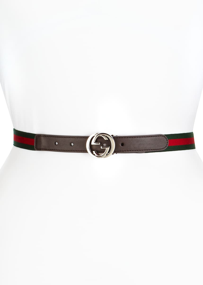 Gucci Kids' Adjustable Leather-Trim Belt, 20mm