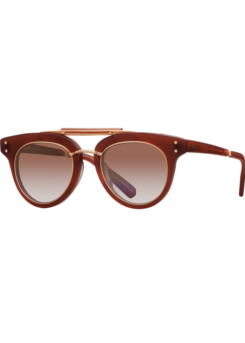 Mr. Leight Gradient Acetate Cat-Eye Sunglasses, Red/Brown