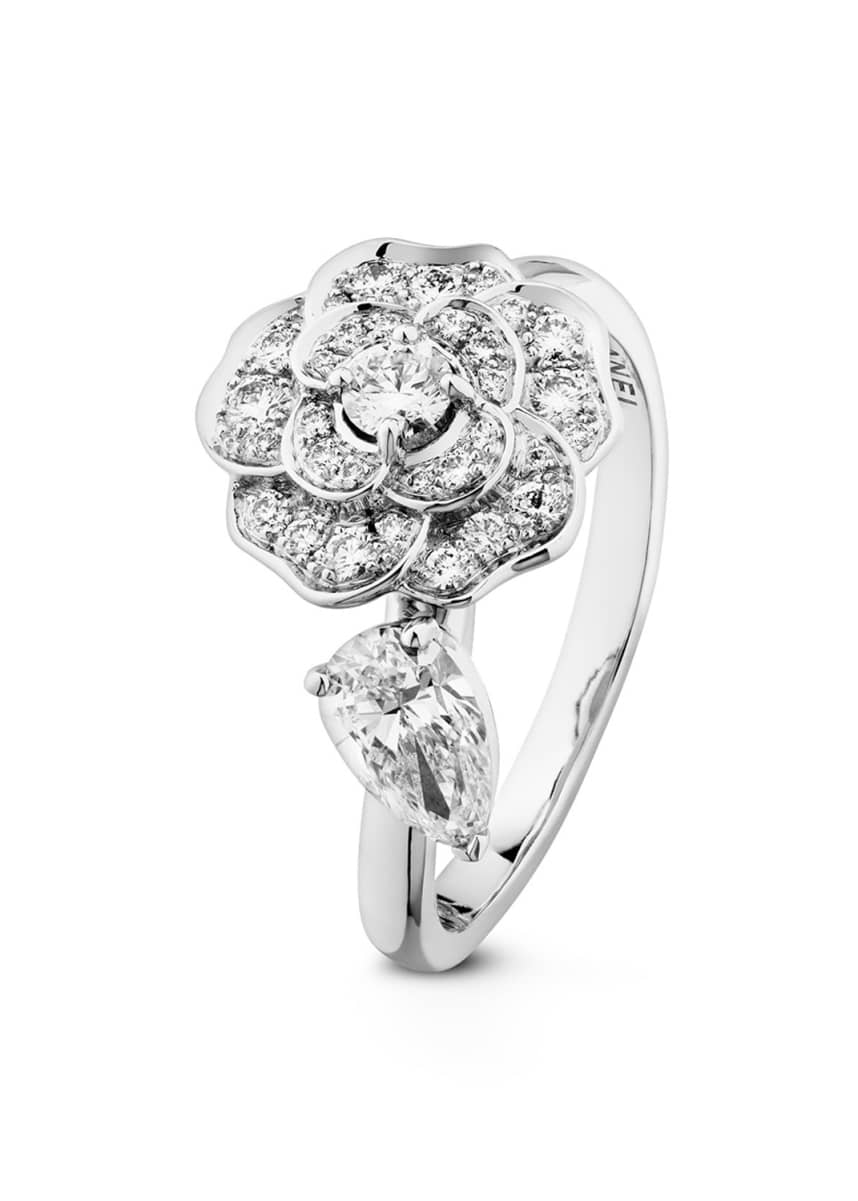 CHANEL CAMELIA PRECIEUX Ring in 18K White Gold and Diamonds