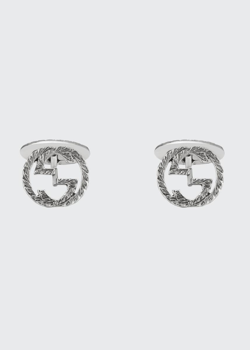 Gucci Sterling Silver Interlocking-G Cuff Links