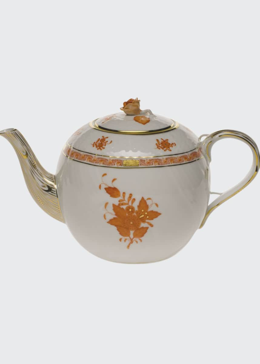 Herend Chinese Bouquet Rust Teapot with Rose