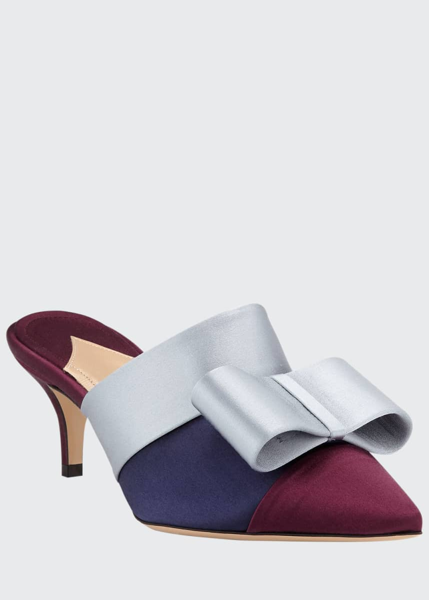 Paul Andrew Kosuth Colorblock Satin Bow Mules