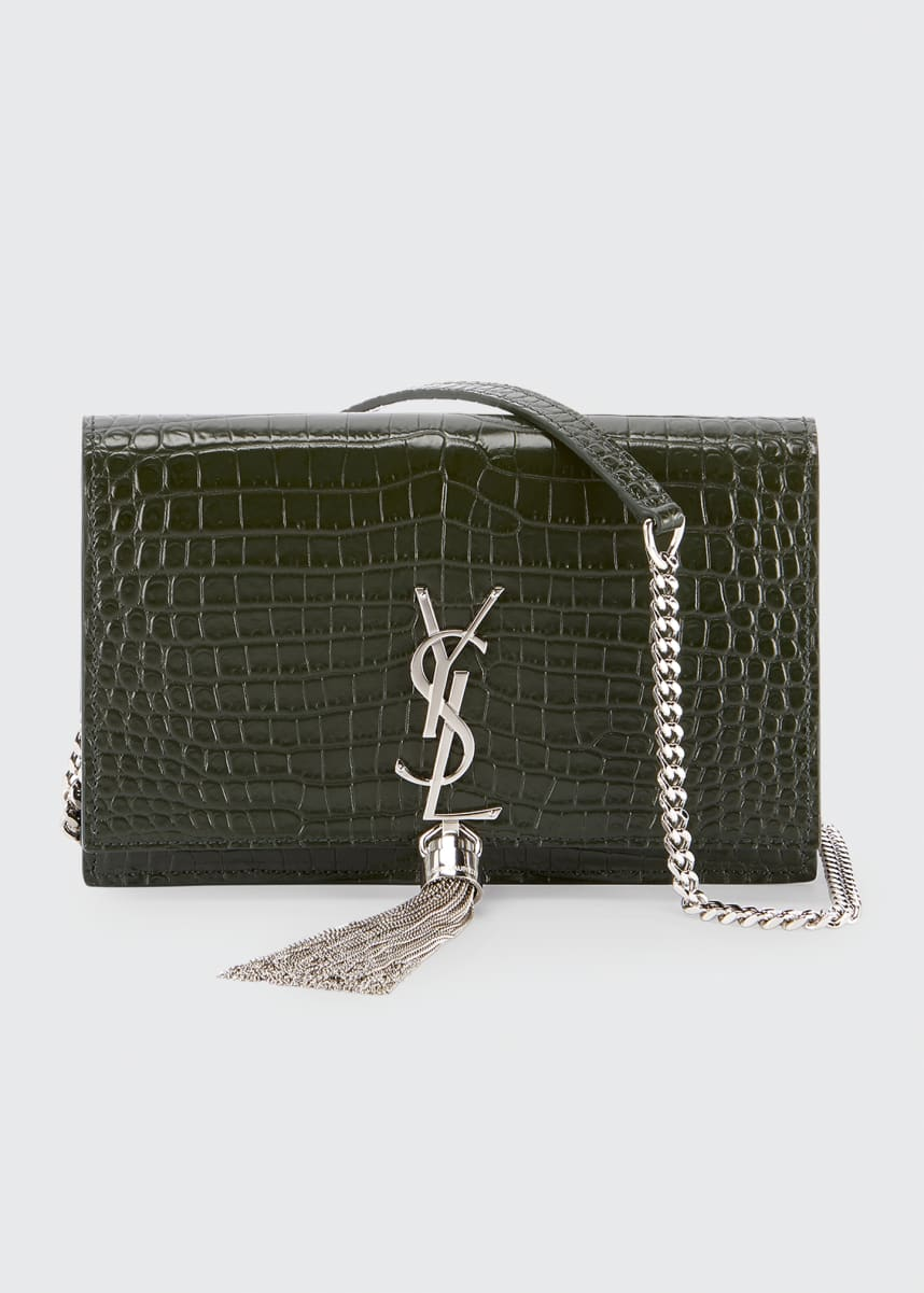 Saint Laurent Kate Shiny Croc-Embossed Wallet w/ Tassel on Chain