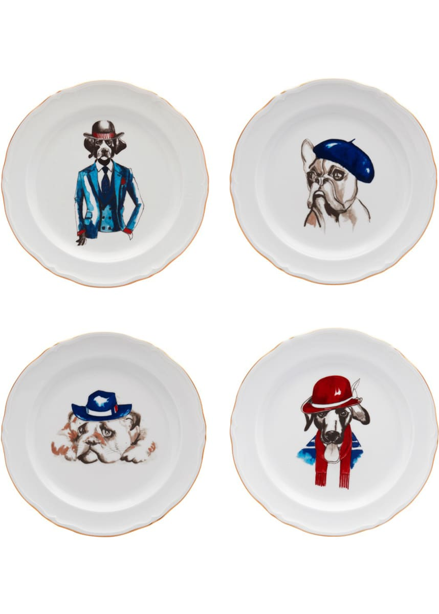 Haviland Le Frenchies Dessert Plates, Set of 4