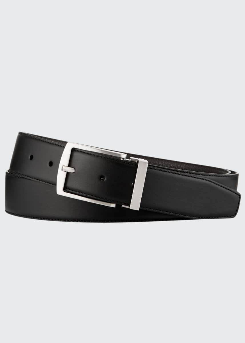 Giorgio Armani Men's Dual-Textured Leather Belt, Black/Brown