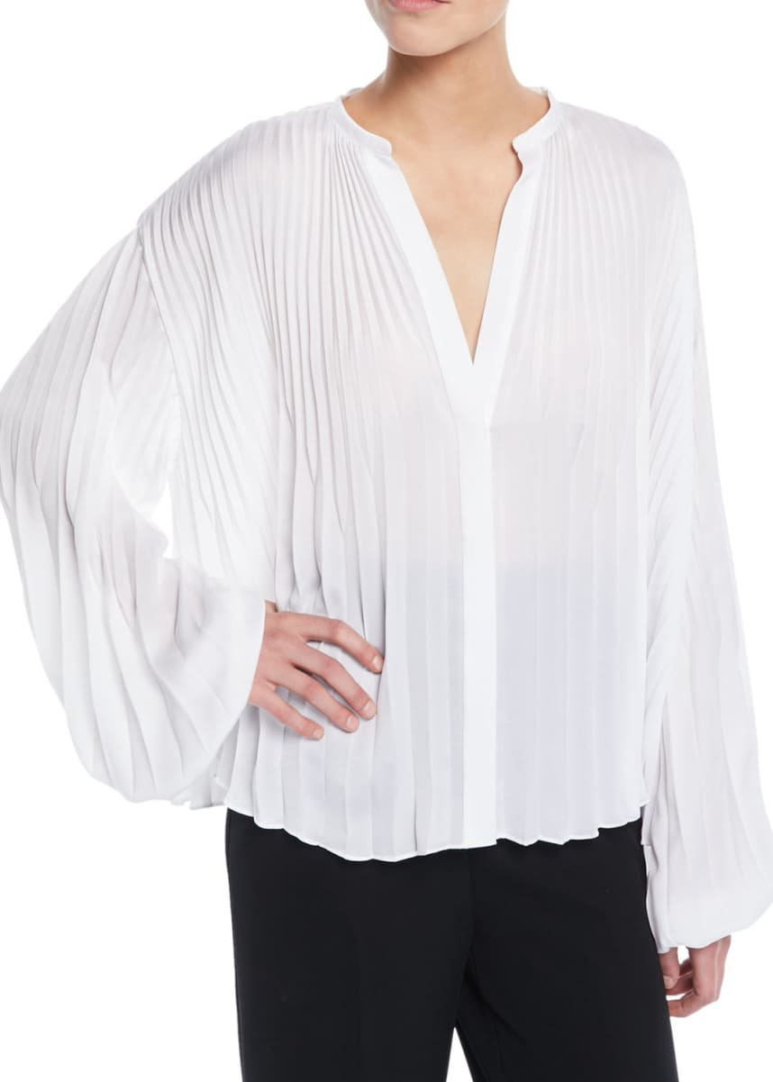 Vince Pleated V-Neck Blouson-Sleeve Blouse