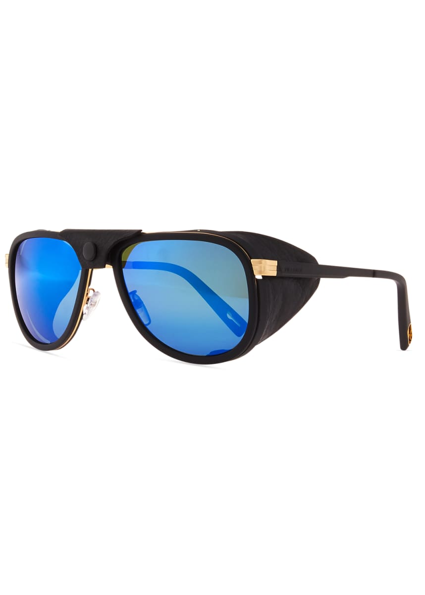 Vuarnet Glacier Pilot Sport Polarized Sunglasses with Detachable Leather Components