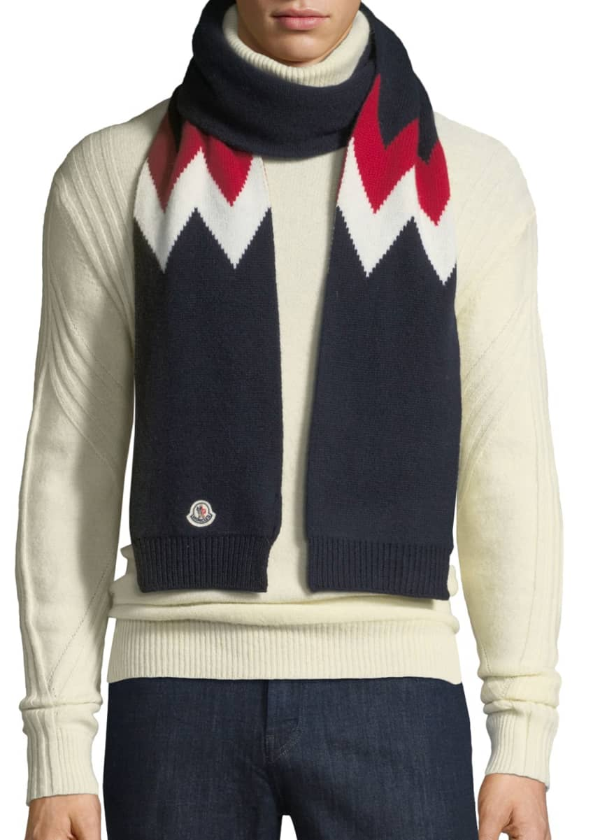 Moncler Men's Chevron-Knit Wool Scarf