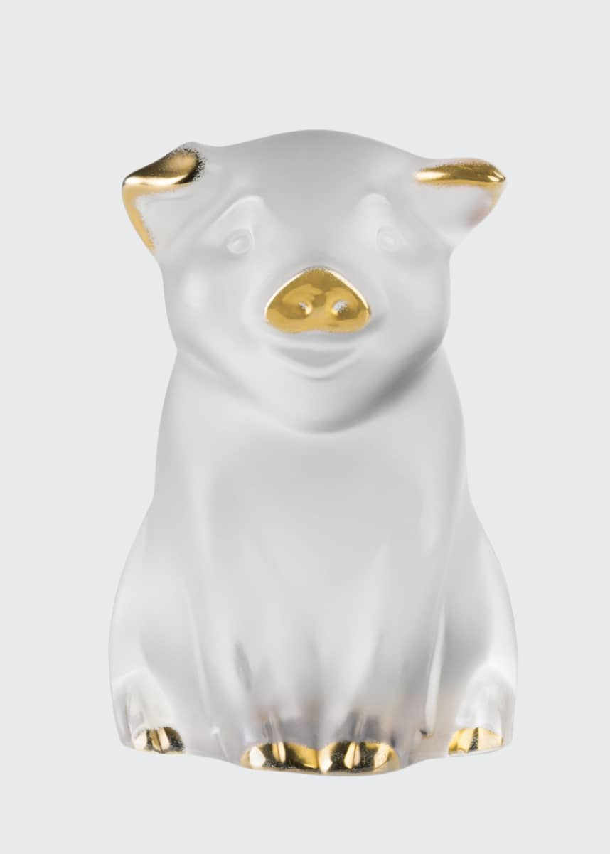 Lalique Gold-Stamped Pig Figurine