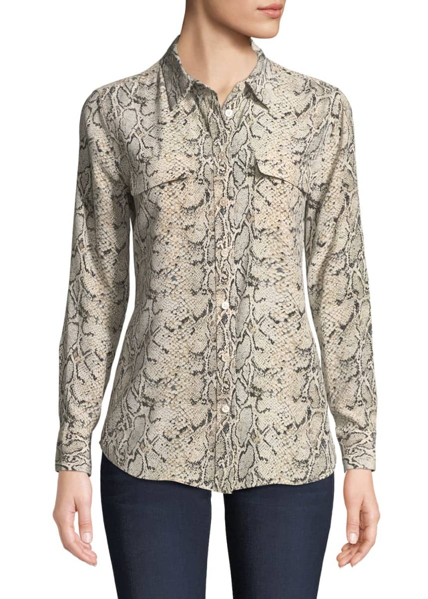 Equipment Slim Signature Python-Print Silk Button-Front Blouse