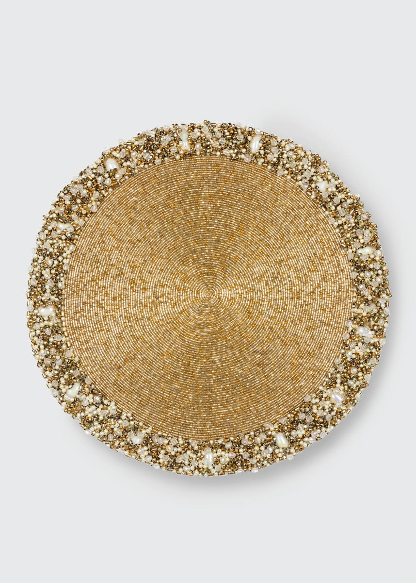 Nomi K Gold Classic Round Beaded Placemat