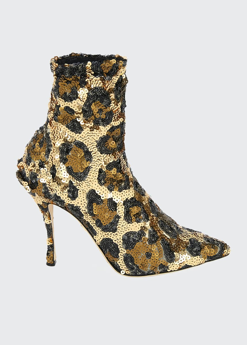 Dolce & Gabbana Leopard Sequin Pointed Booties