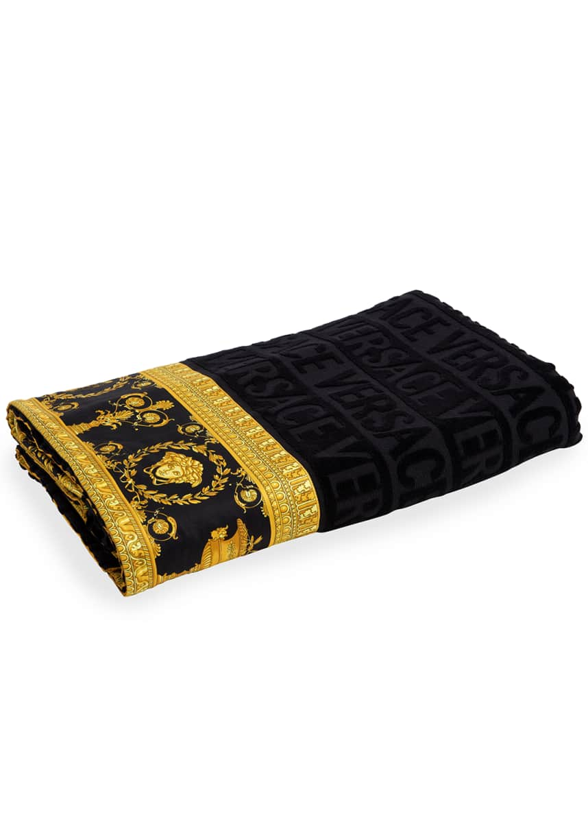 Versace Logo Jacquard Beach Towel with Baroque-Print Border