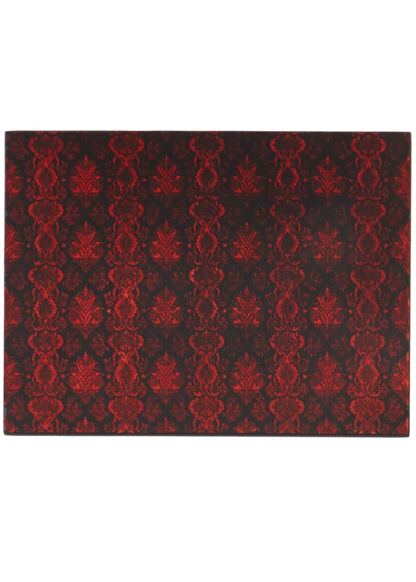 Nomi K Lace Glass Painted Mirror Placemat, Red/Black
