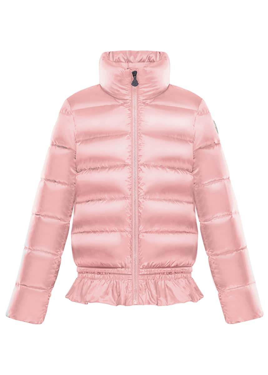 Moncler Anemonet Ruffle-Hem Quilted Puffer Jacket, Size 4-6