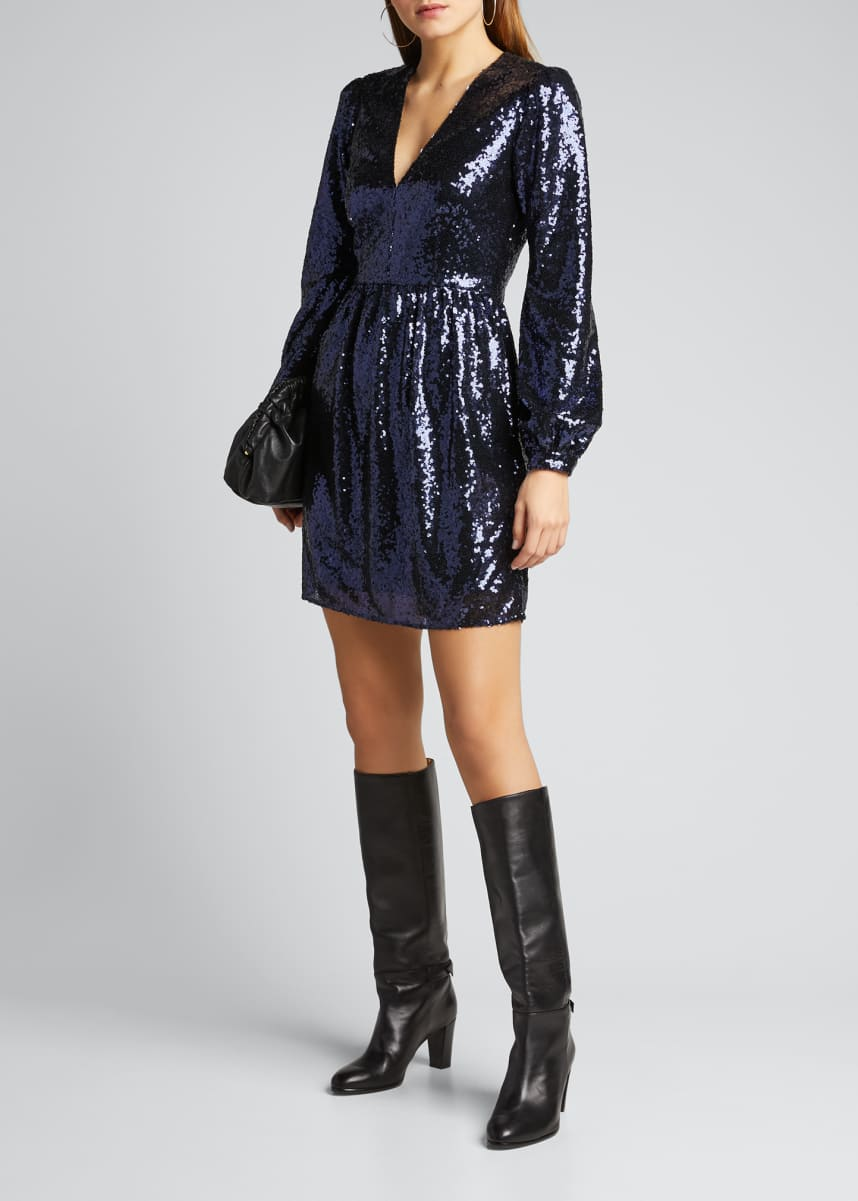 Saloni Camille Sequined Long-Sleeve Cocktail Dress