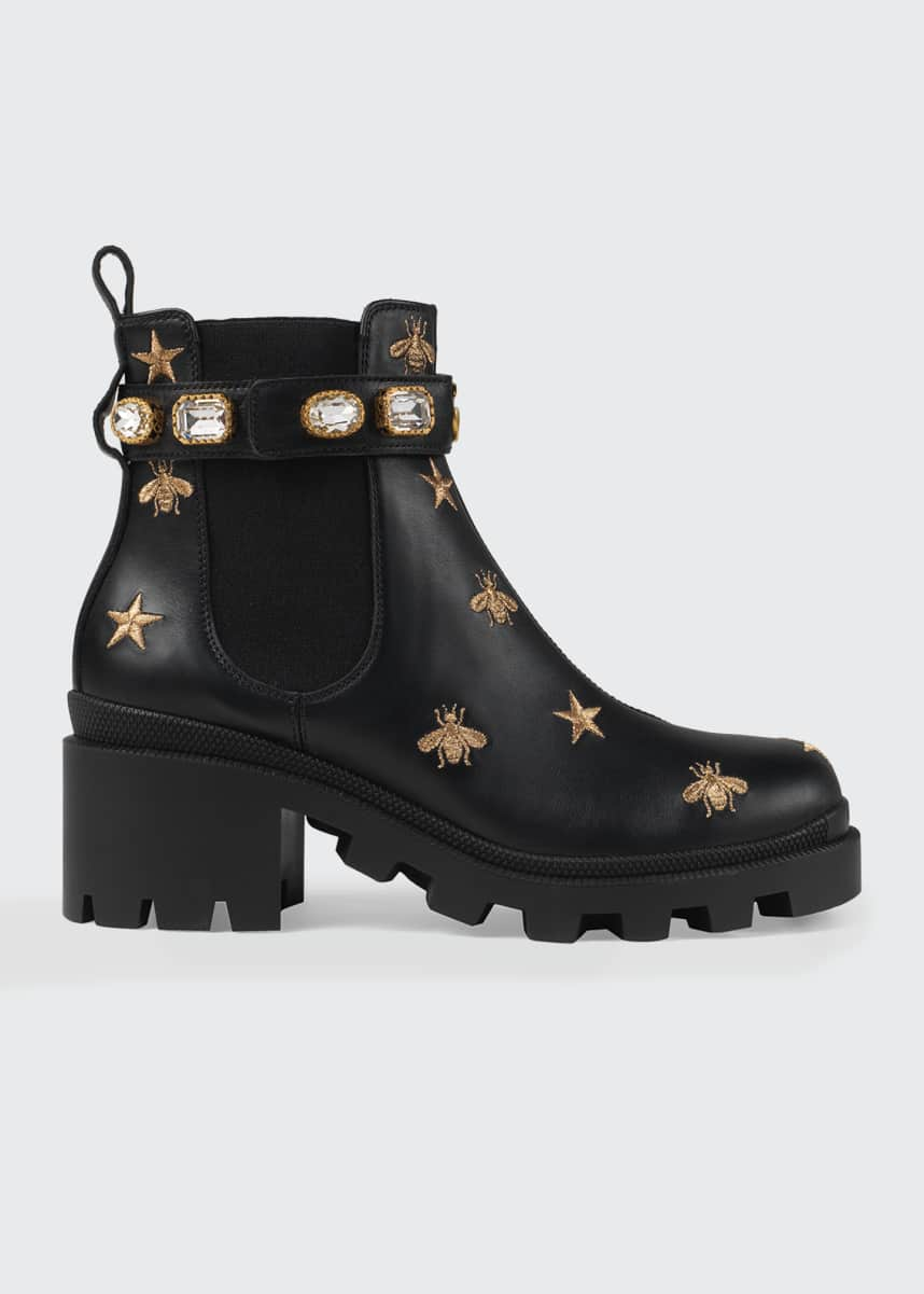 Gucci Star And Bee Embroidered Boots