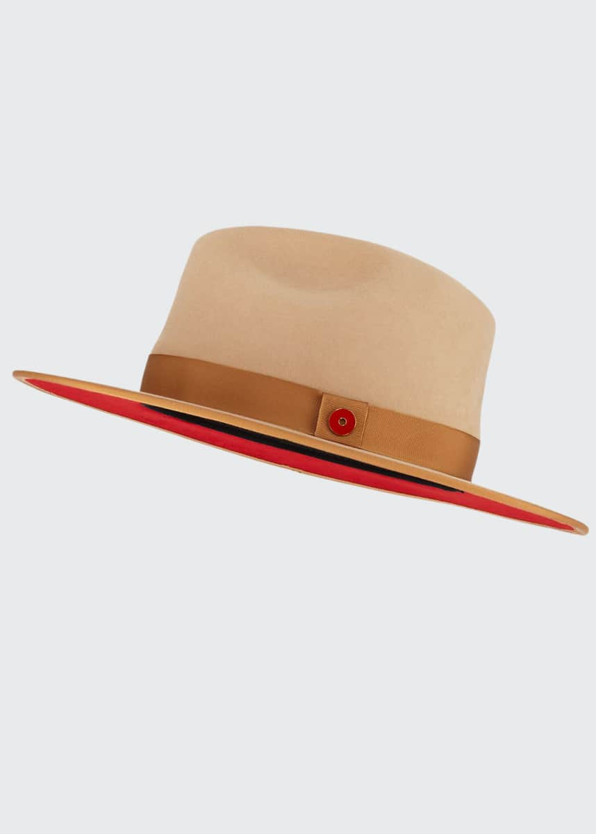 Keith and James Queen Red-Brim Wool Fedora Hat, Beige