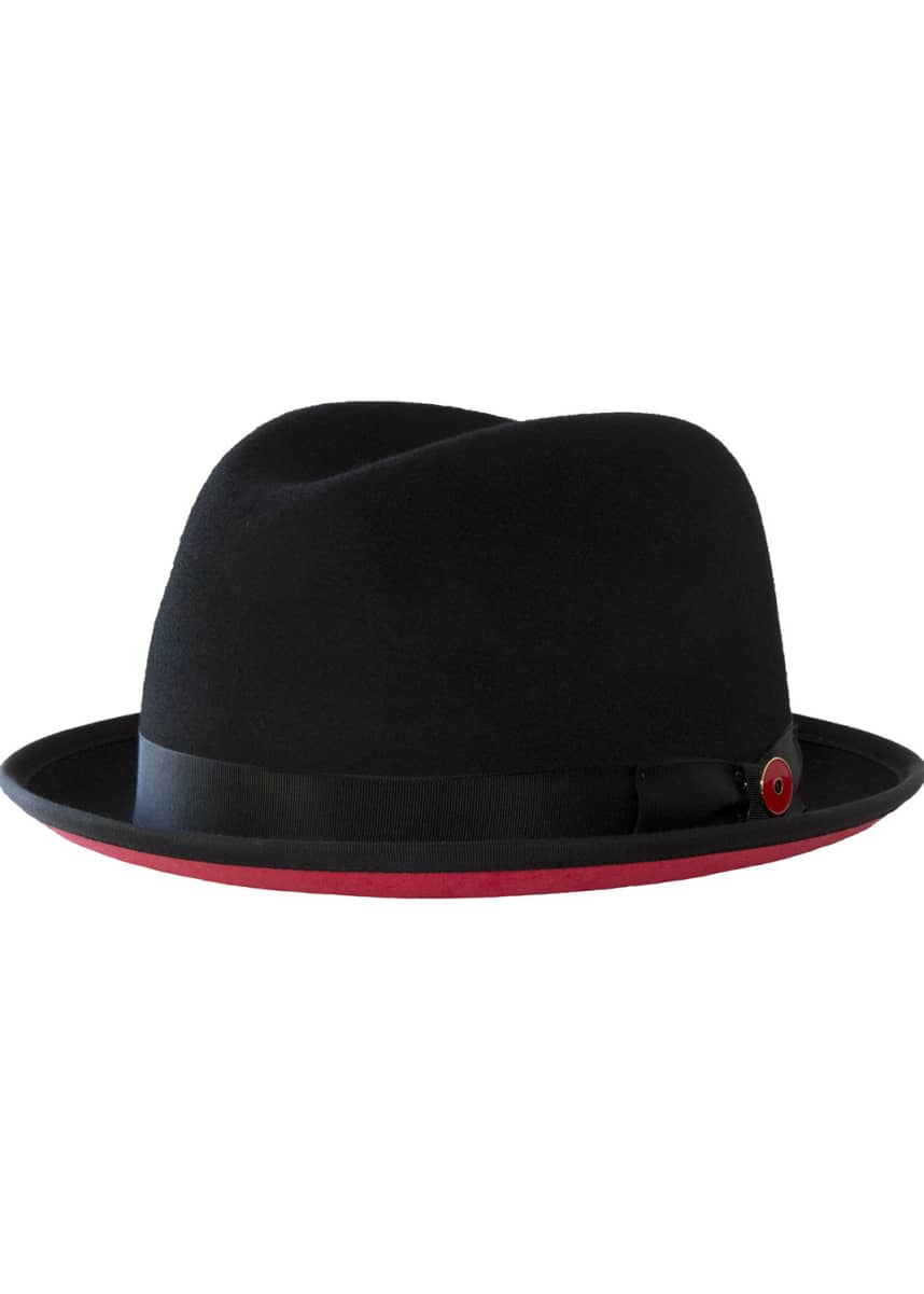 Keith and James Men's Prince Red-Brim Wool Fedora Hat, Black